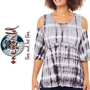 OneWorld Cold Shoulder Rhinestone Tie Dye Top